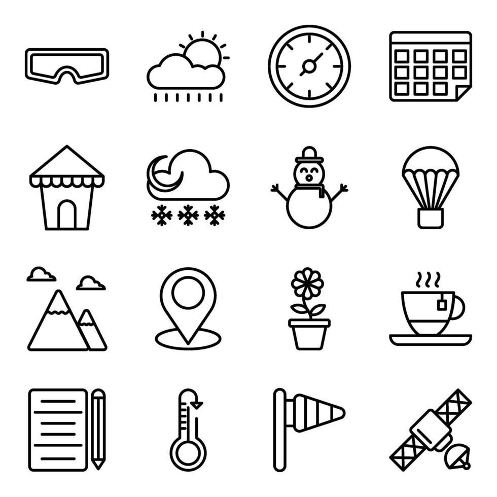 pacchetto di icone lineari nuvoloso meteo vettore