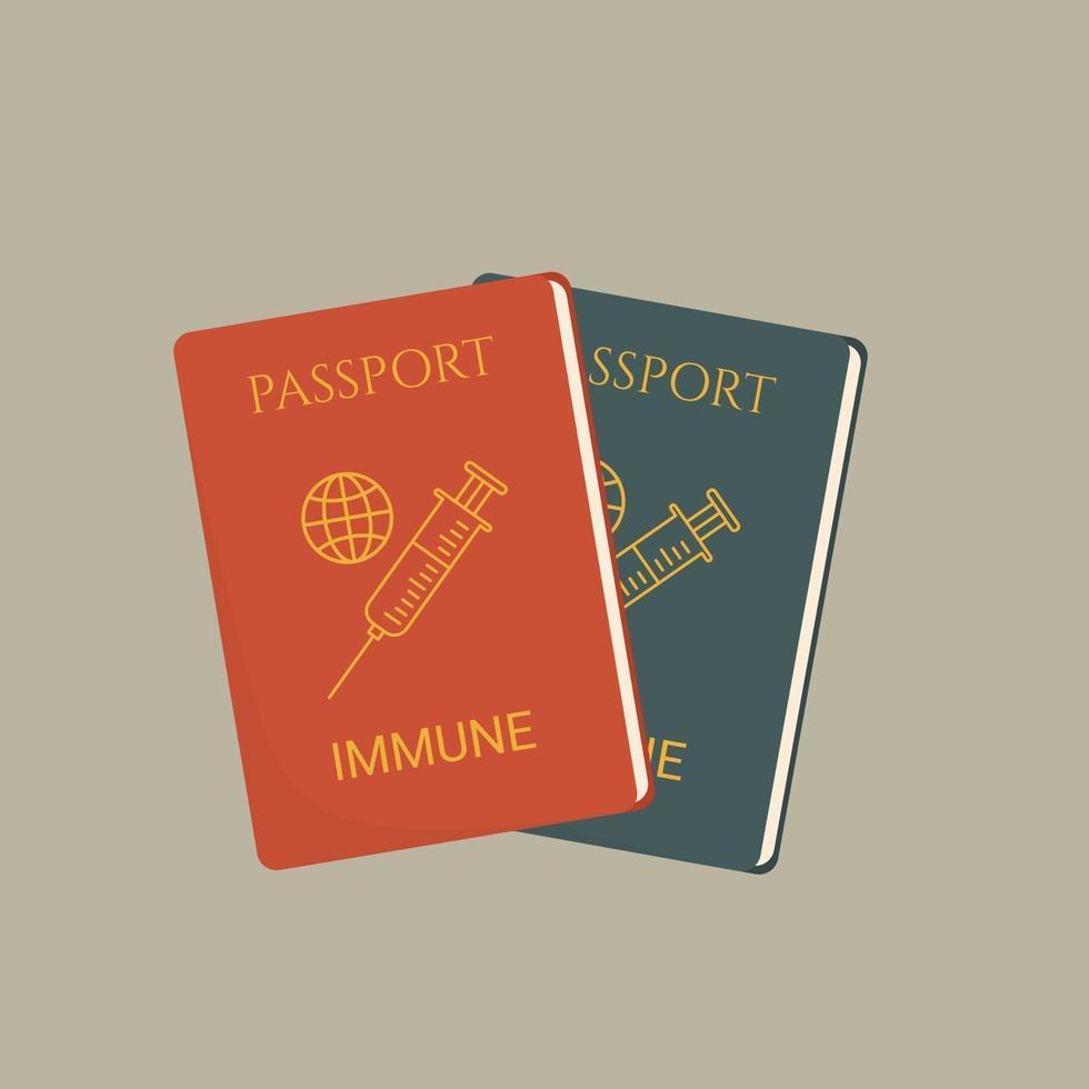 illustrazione piatta vaccino passaporto certificato di vaccinazione, passaporto immunità vettore