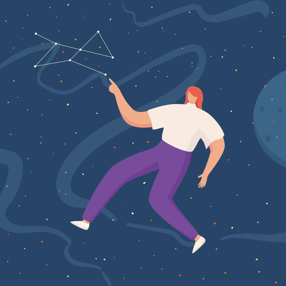 donne che fluttuano nello spazio con pianeti e stelle. volare nel cielo con le stelle che indossano abiti casual vettore