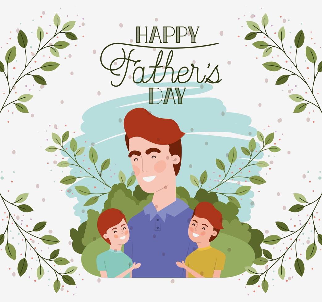 carta di felice festa del papà con personaggi di papà e figli vettore