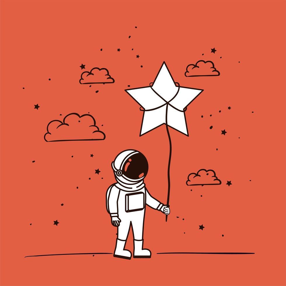 astronauta disegnare con design a stella vettore