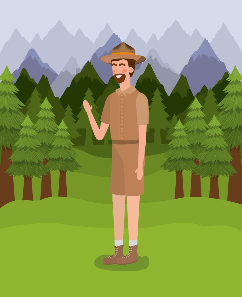 forest ranger man cartoon design vettore