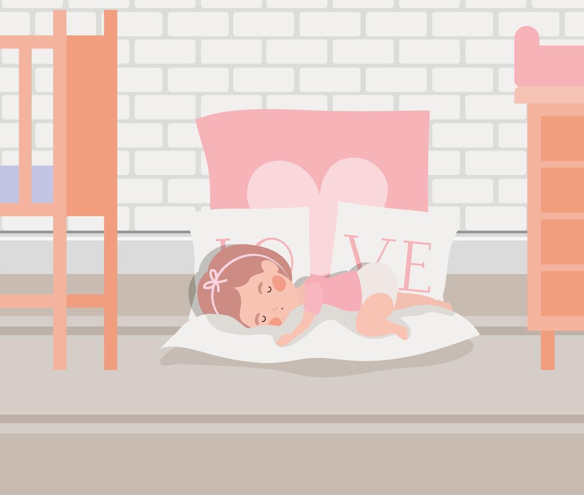 piccola bambina che dorme personaggio vettore