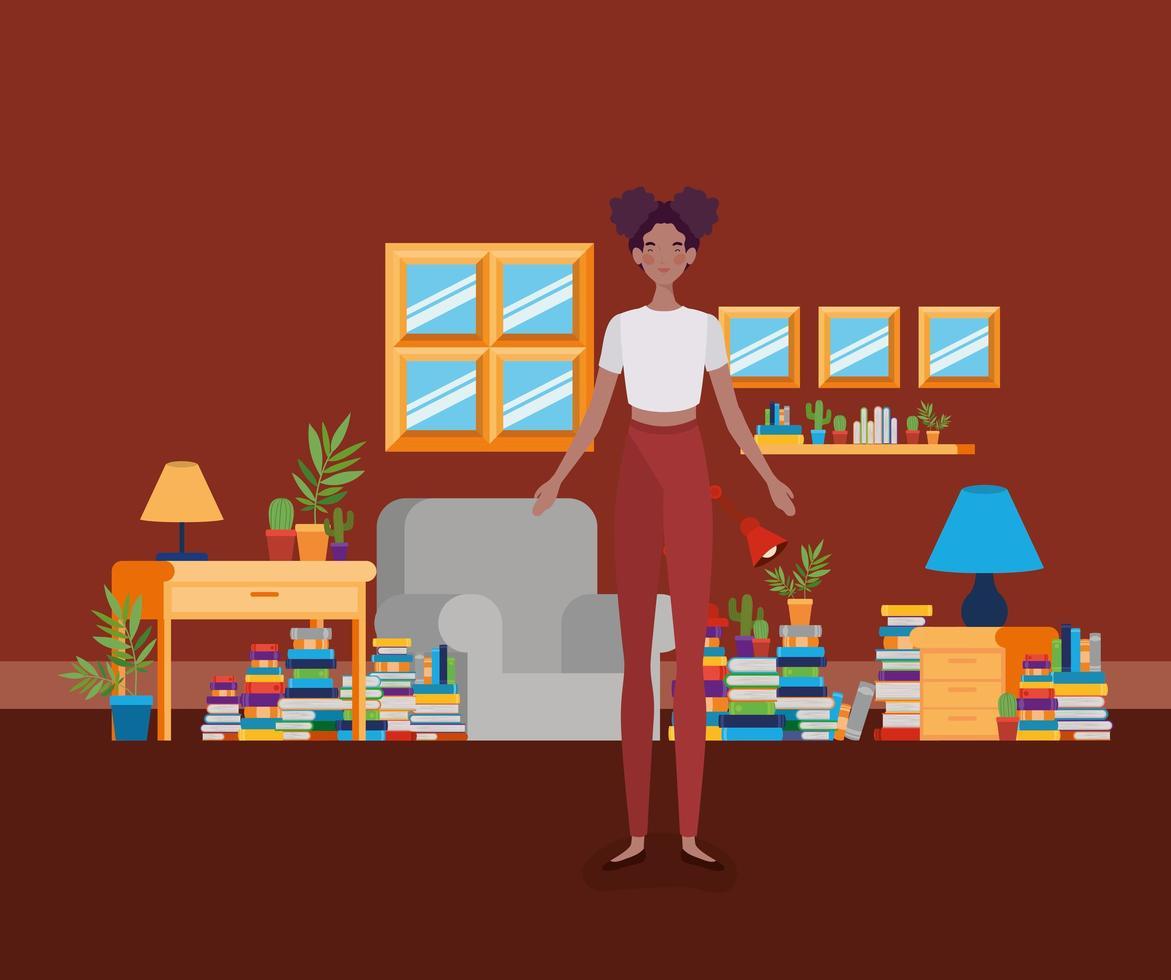 giovane donna afro in piedi nella sala della biblioteca vettore