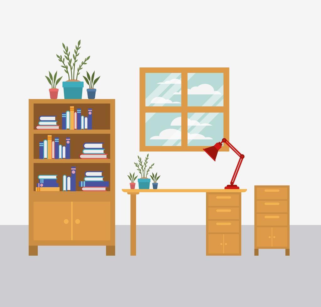 illustrazione di vettore dell'icona di scena dell'area di lavoro dell'ufficio