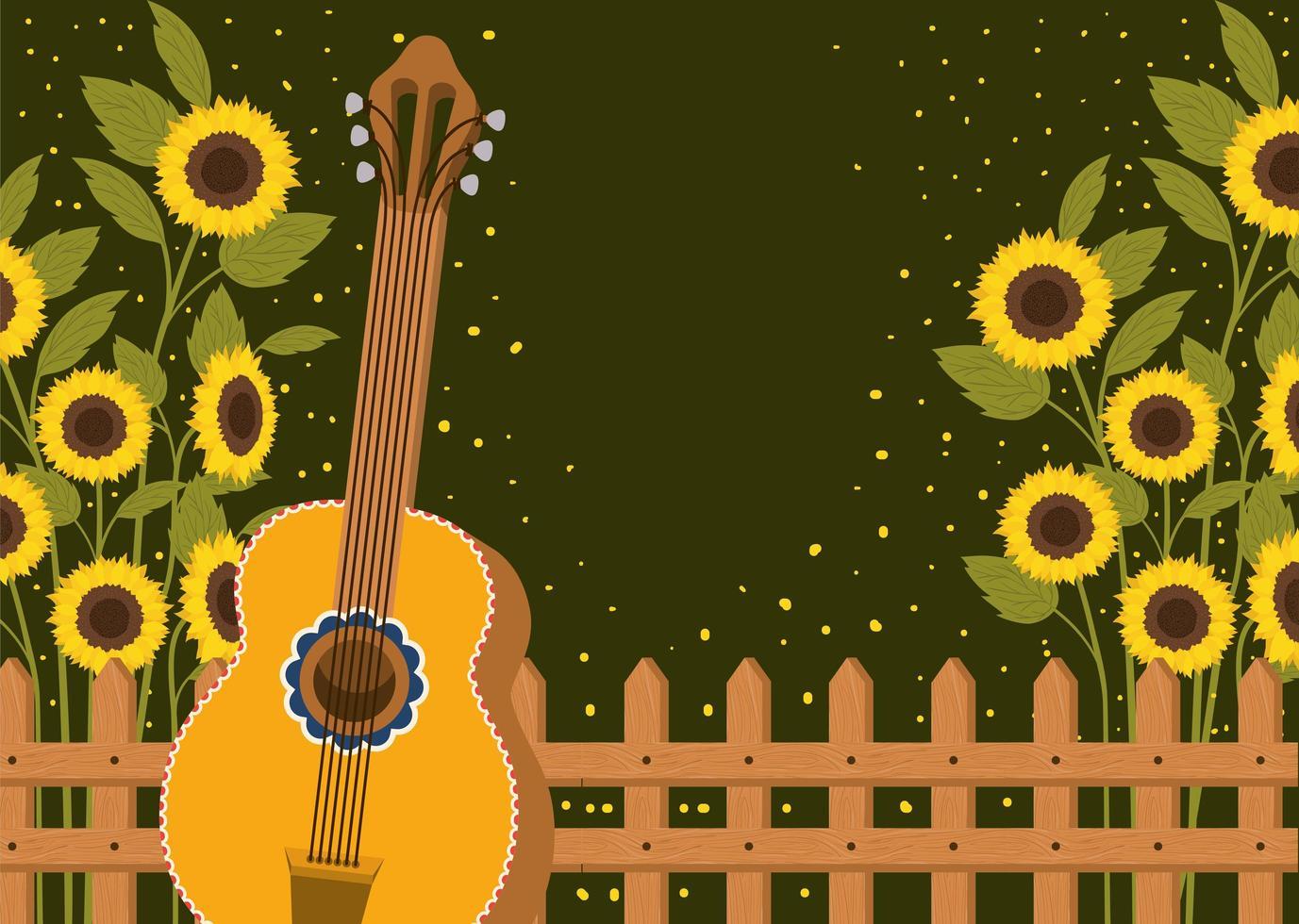 bellissimo giardino di girasoli con recinzione e chitarra vettore