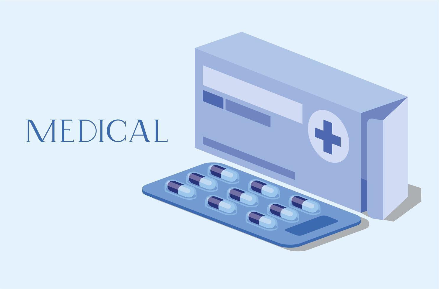 design della scatola della medicina vettore