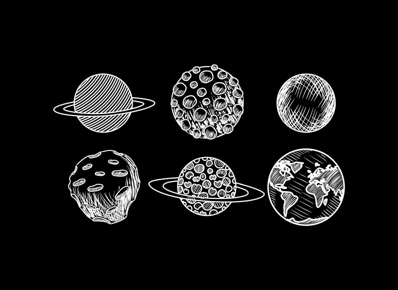 pianeti disegnati a mano del design del sistema solare vettore