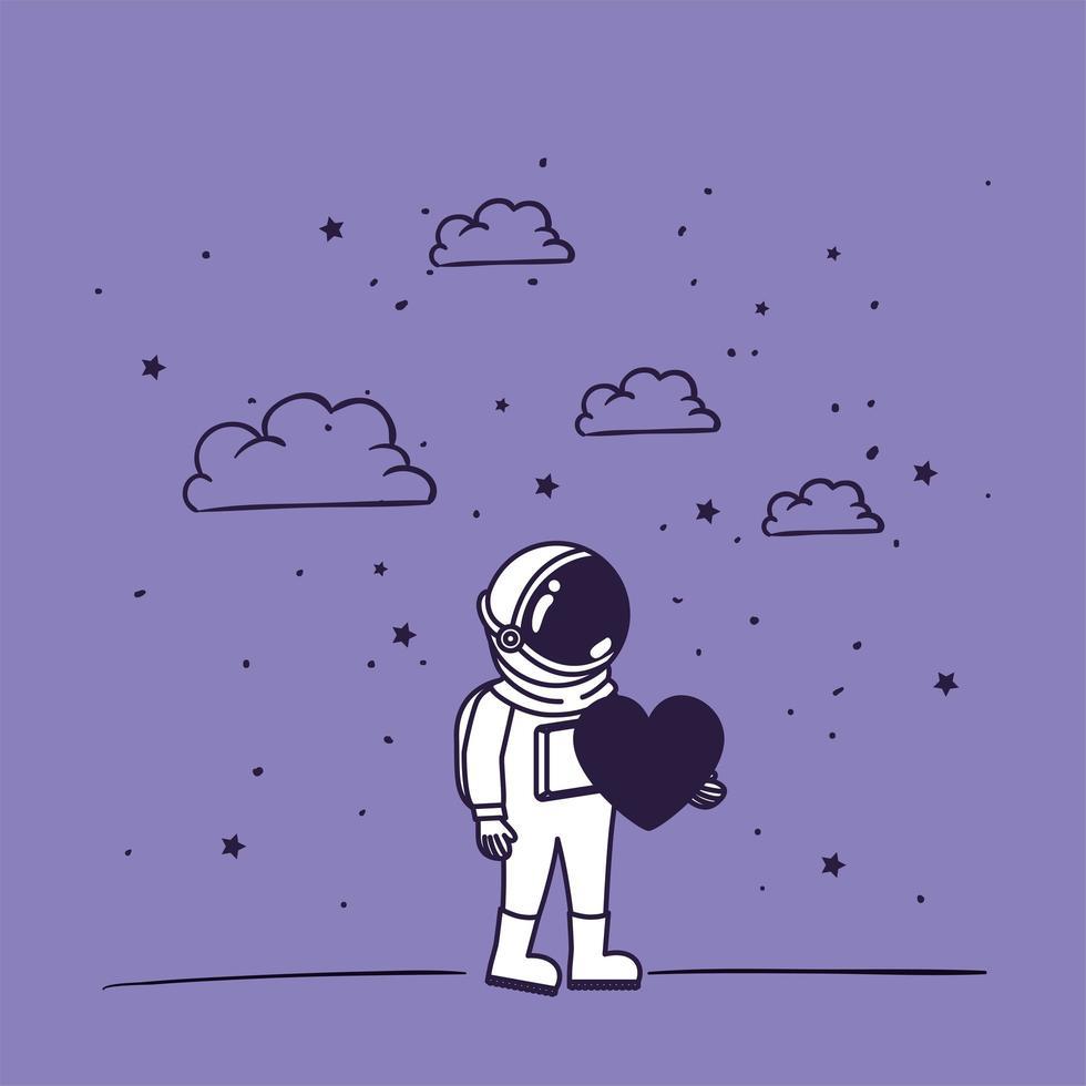 astronauta disegnato a mano con disegno del cuore vettore