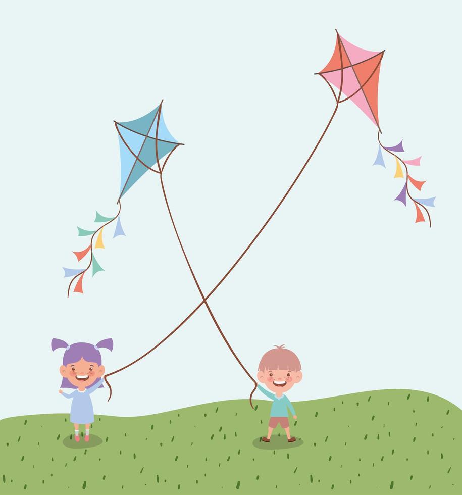 bambini piccoli felici che fanno volare gli aquiloni nel paesaggio del campo vettore