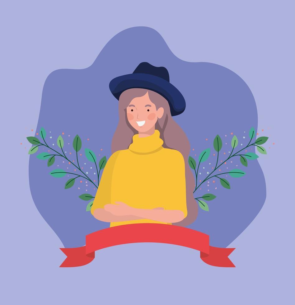giovane donna con tophat e nastro cornice vettore