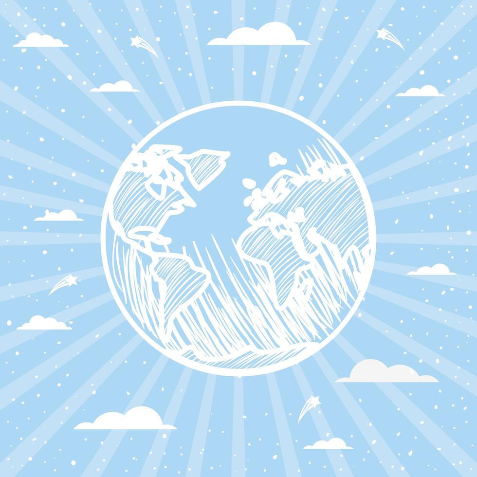 disegno di sfondo del pianeta terra vettore