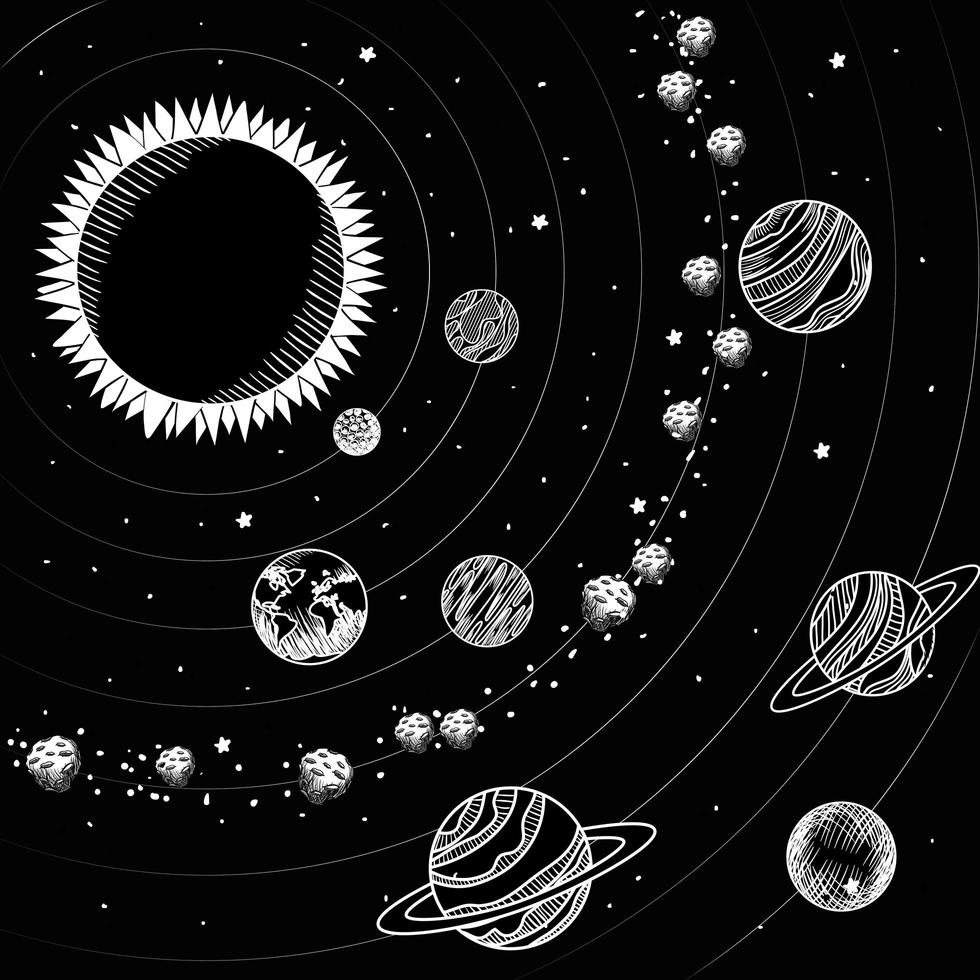 disegni del sole e dei pianeti del progetto del sistema solare vettore