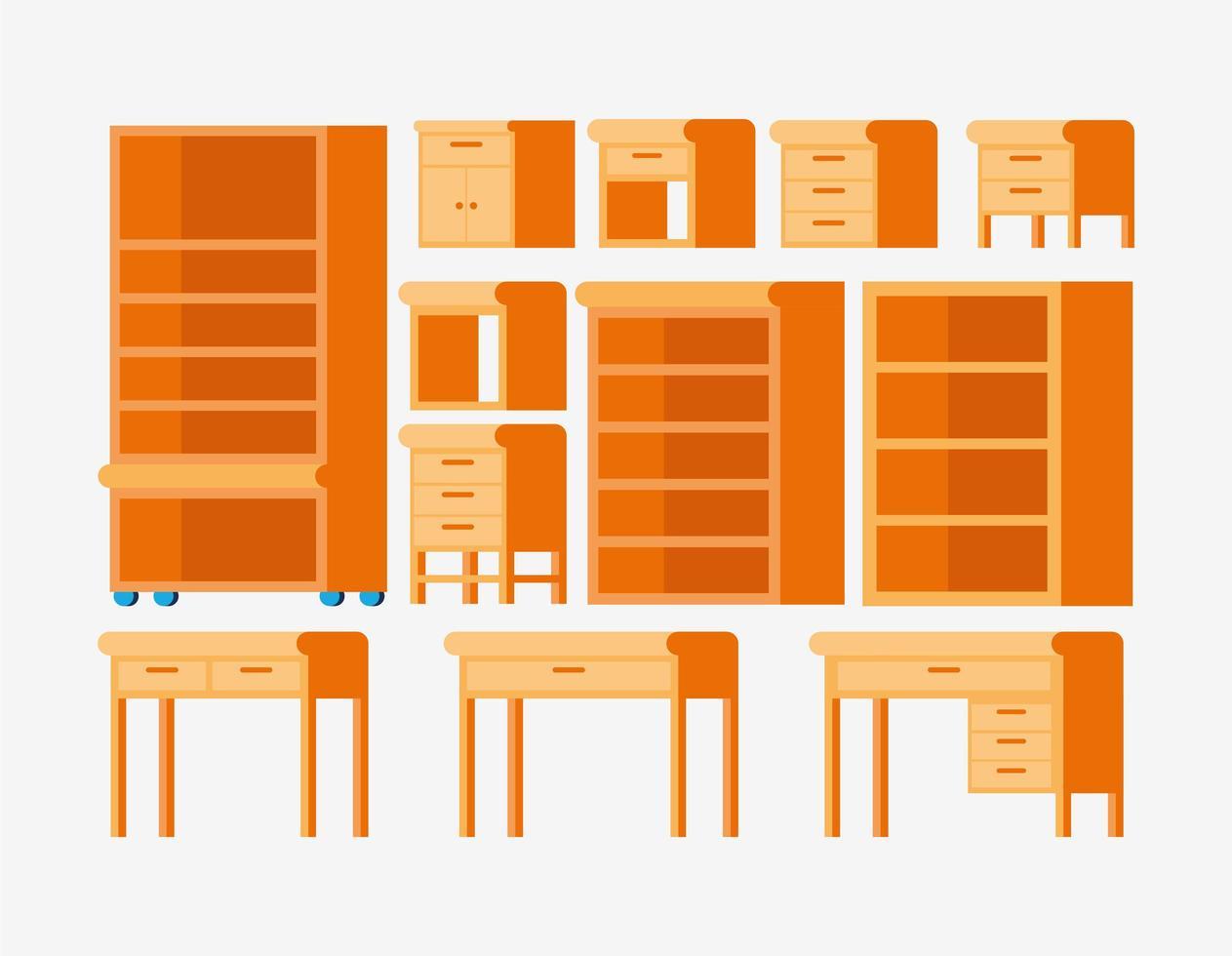 set di mobili in legno vettore