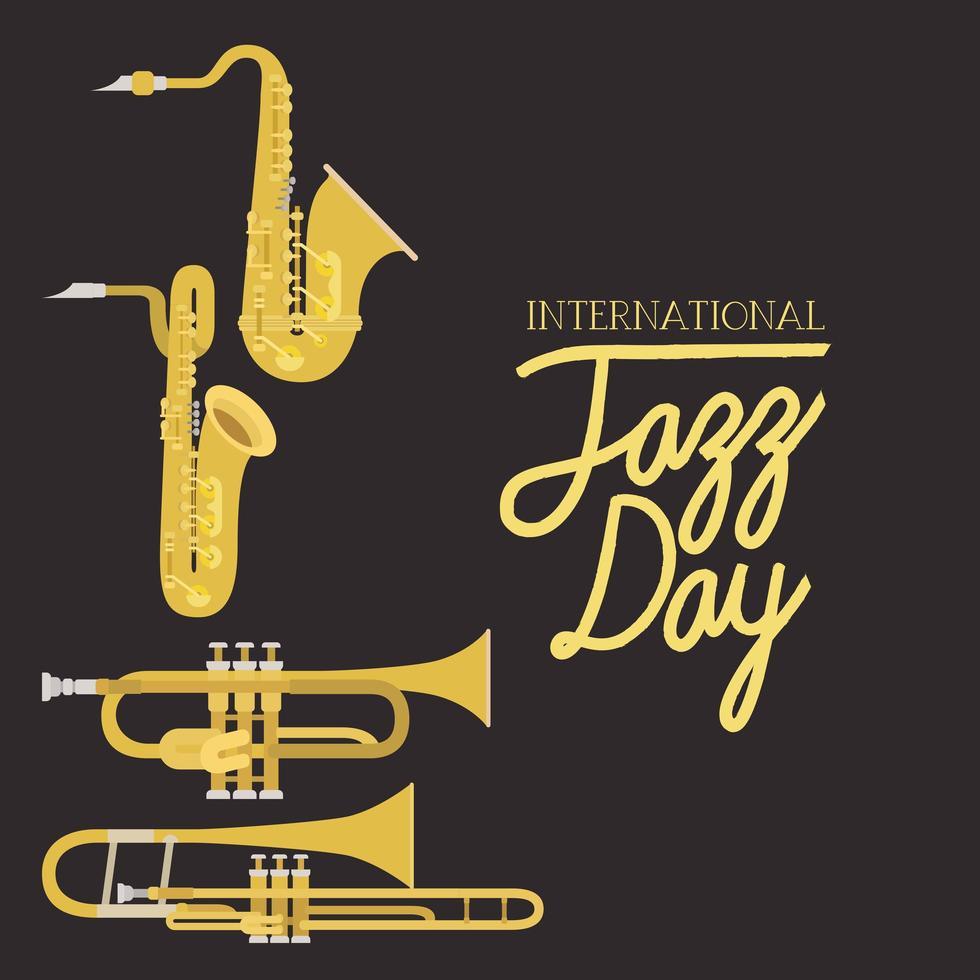 poster del giorno del jazz con strumenti ad aria vettore