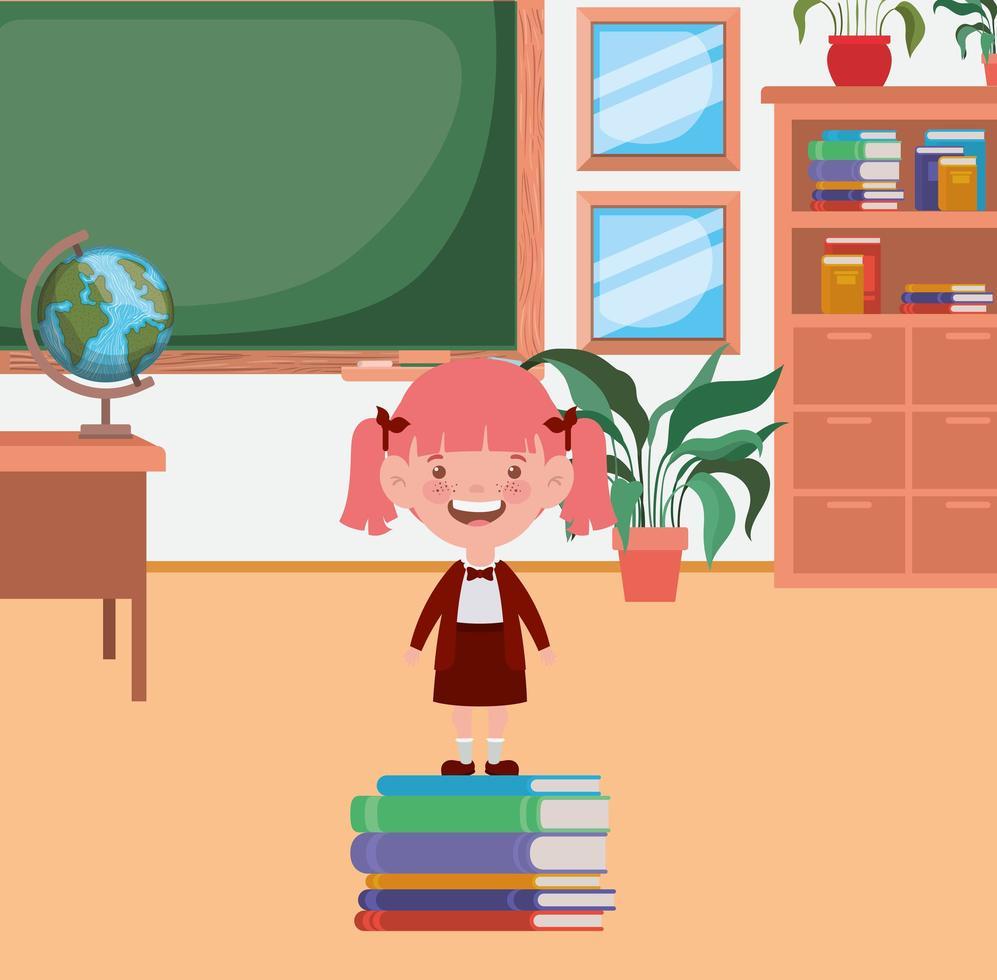 bambina della scuola con i libri della pila in classe vettore