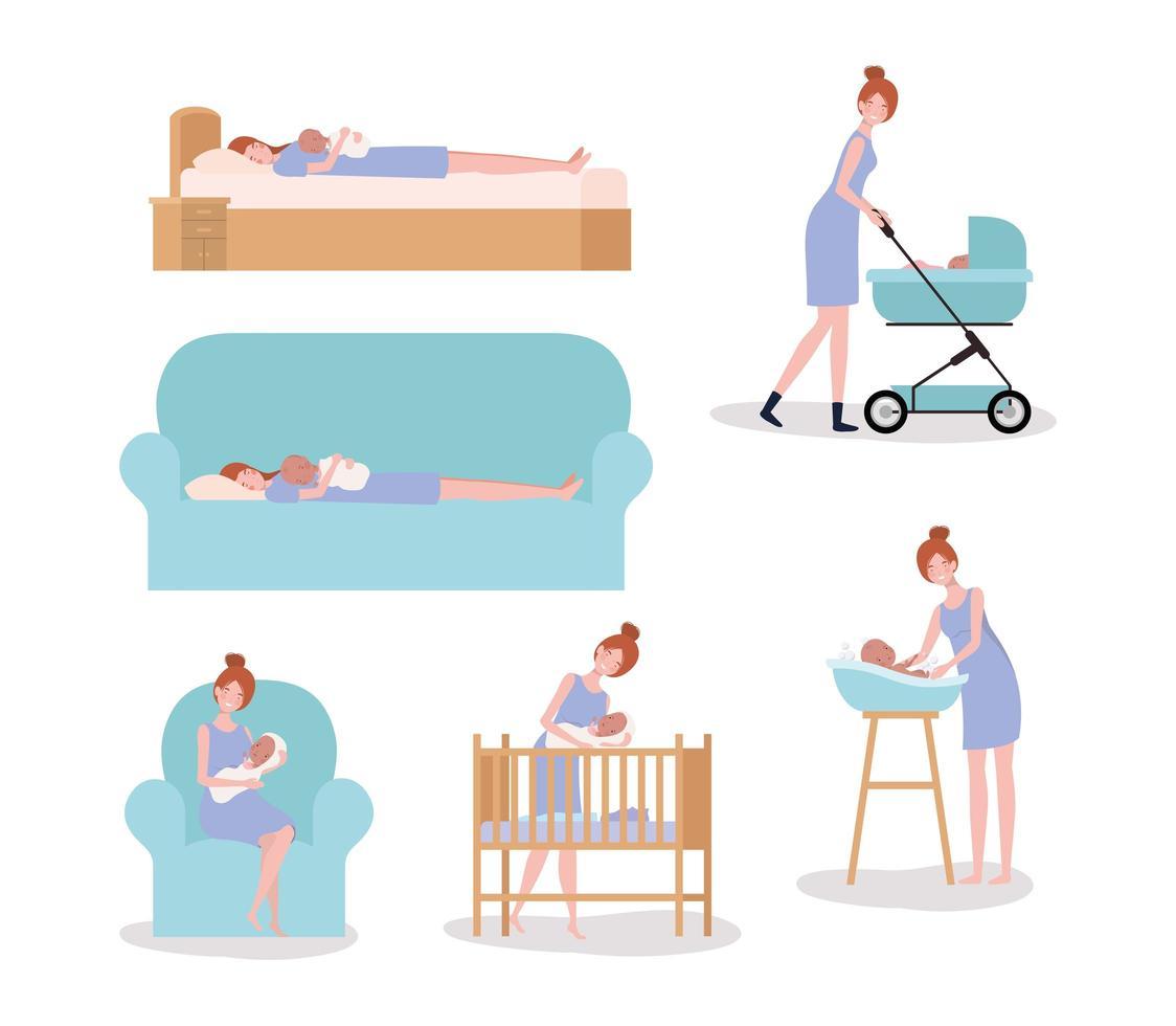 carino madre con neonato set attività vettore