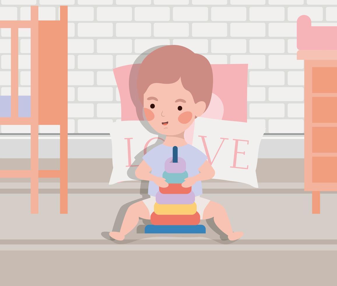 piccolo neonato con personaggio giocattolo vettore