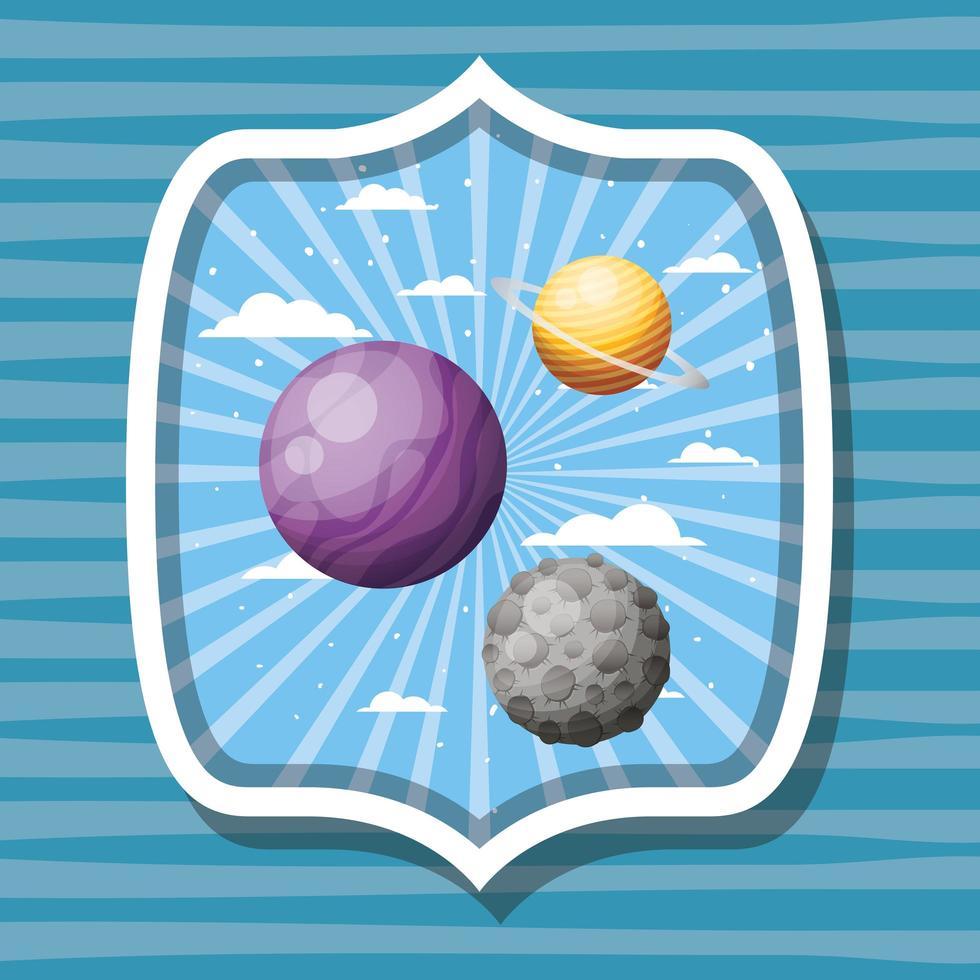pianeti spaziali e illustrazione di vettore di progettazione dell'etichetta della luna