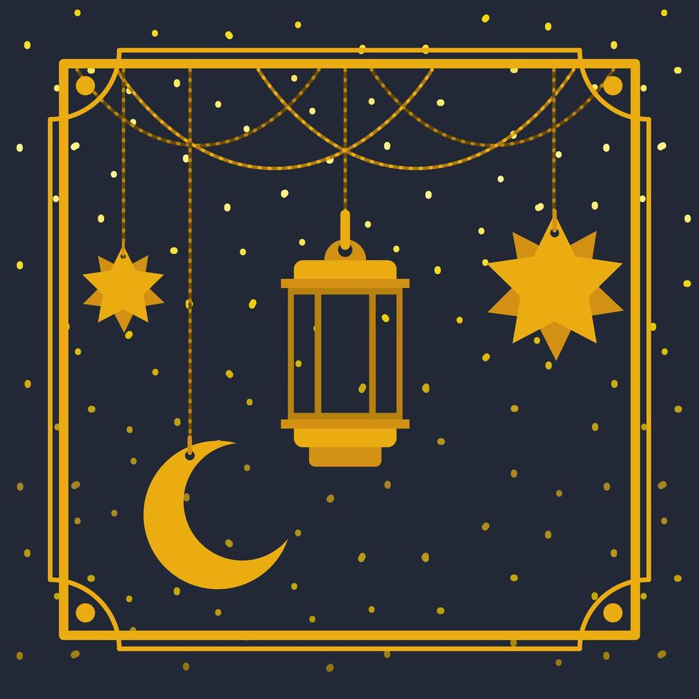 cornice dorata di ramadan kareem con lampada e luna, stelle appese vettore