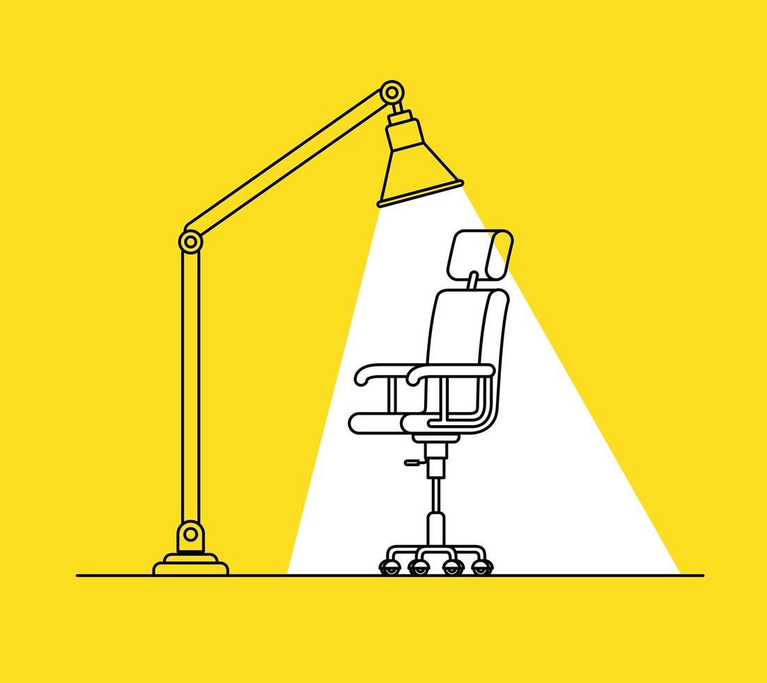 sedia da ufficio e scena della lampada vettore