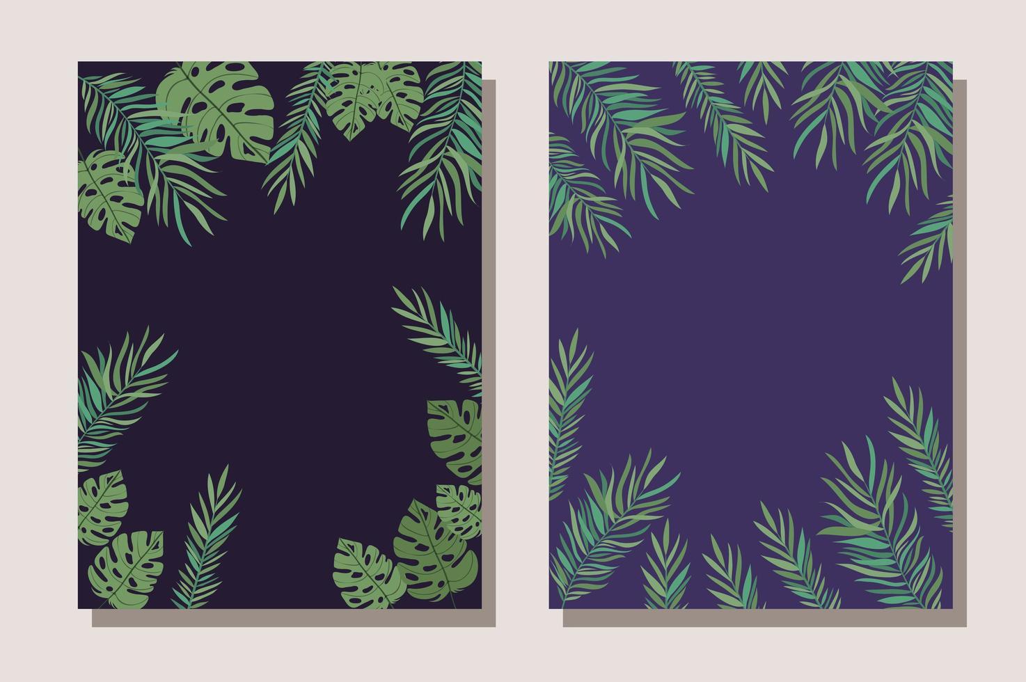 illustrazione di vettore di progettazione del telaio di foglie tropicali