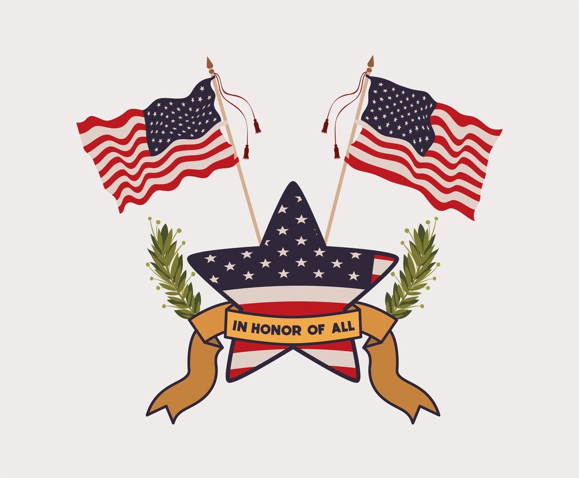 stella con corona e bandiera usa dell'emblema del memorial day vettore