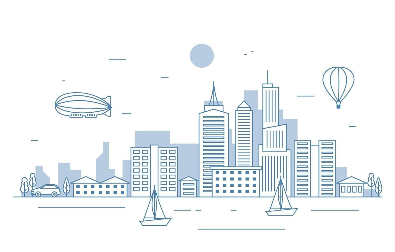 illustrazione del fiume paesaggio paesaggio urbano della città vettore