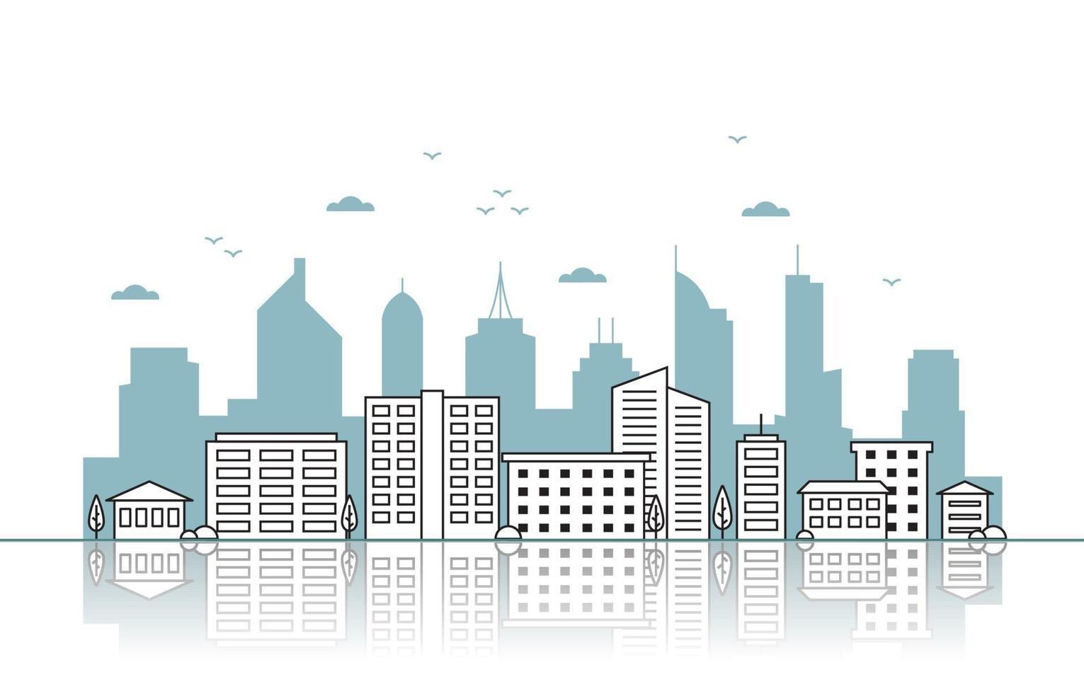 skyline della città con illustrazione di riflessione vettore