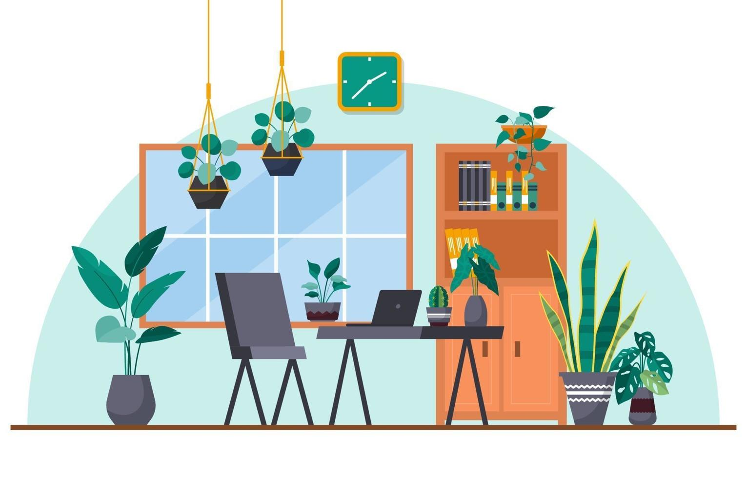 pianta decorativa verde pianta d'appartamento tropicale nell'illustrazione dell'area di lavoro dell'ufficio vettore