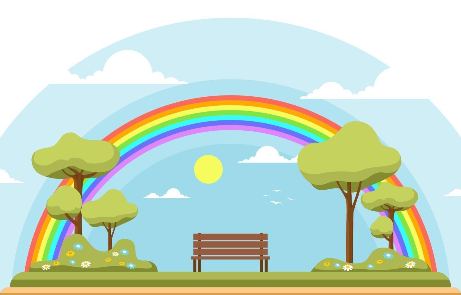 bellissimo arcobaleno nel parco estate natura paesaggio illustrazione vettore