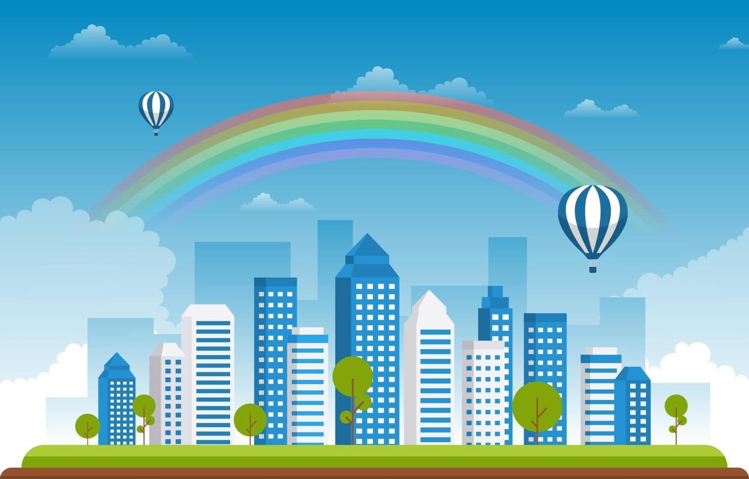 bella illustrazione del paesaggio urbano di estate della città dell'arcobaleno vettore