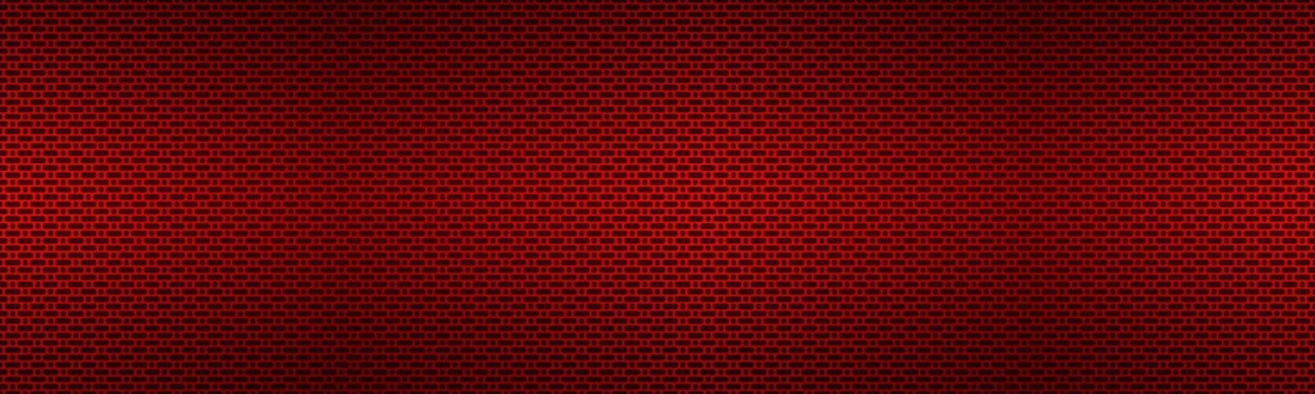intestazione metallica rossa perforata. banner di struttura in metallo. semplice illustrazione di texnology. cerchio, rettangolo arrotondato e ovale traforato vettore