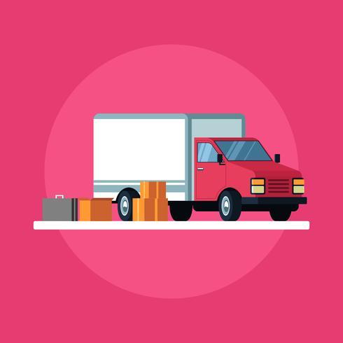 Vettore commovente delle scatole di cartone e del camion