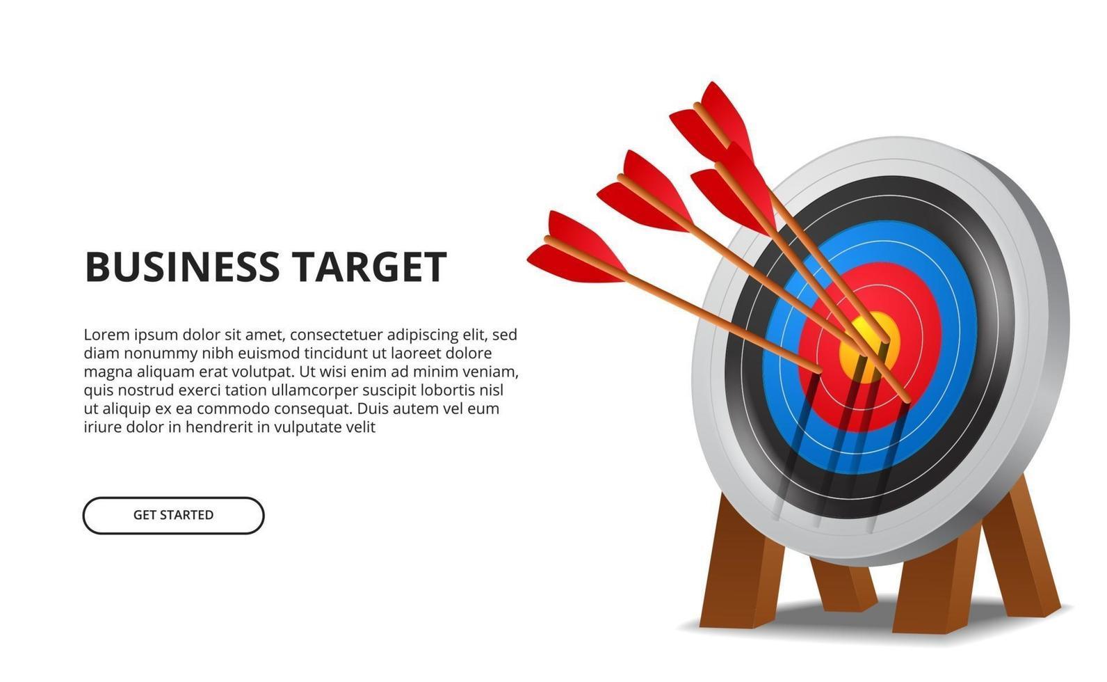 freccia di tiro con l'arco di successo sulla scheda obiettivo 3d. concetto di illustrazione di raggiungimento degli obiettivi aziendali vettore