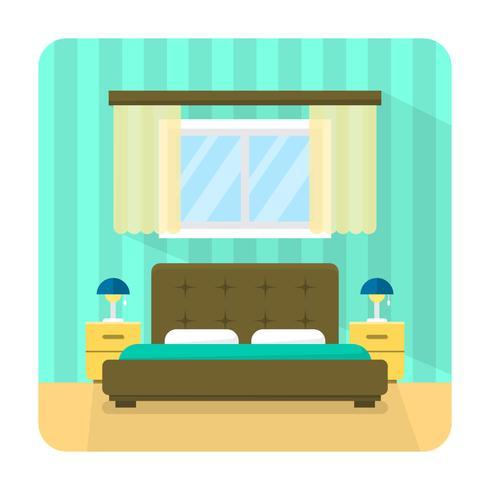 Camera da letto piatta vettore