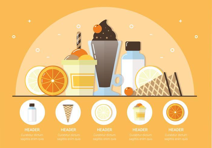 Illustrazione di frutta e gelato di vettore