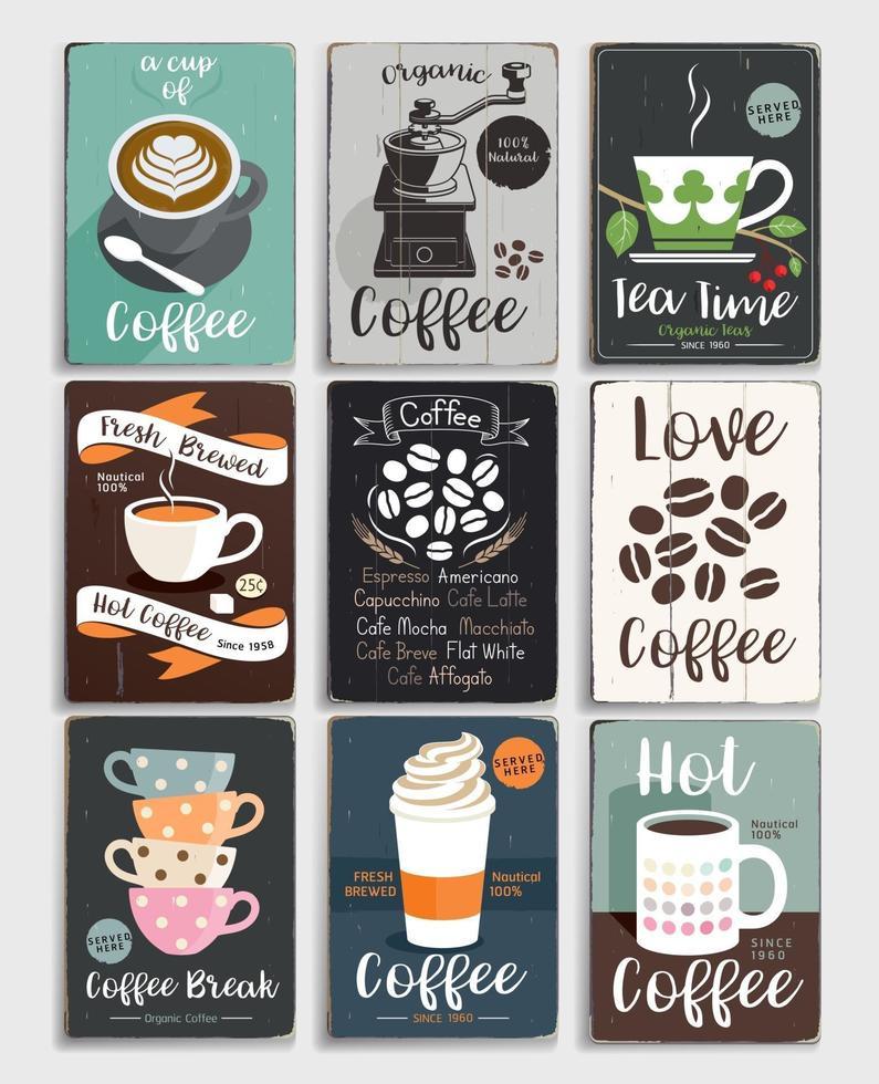 set di poster vintage caffè e tè. illustrazione vettoriale. vettore