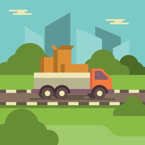 Rilocazione domestica con l'illustrazione commovente di vettore del camion