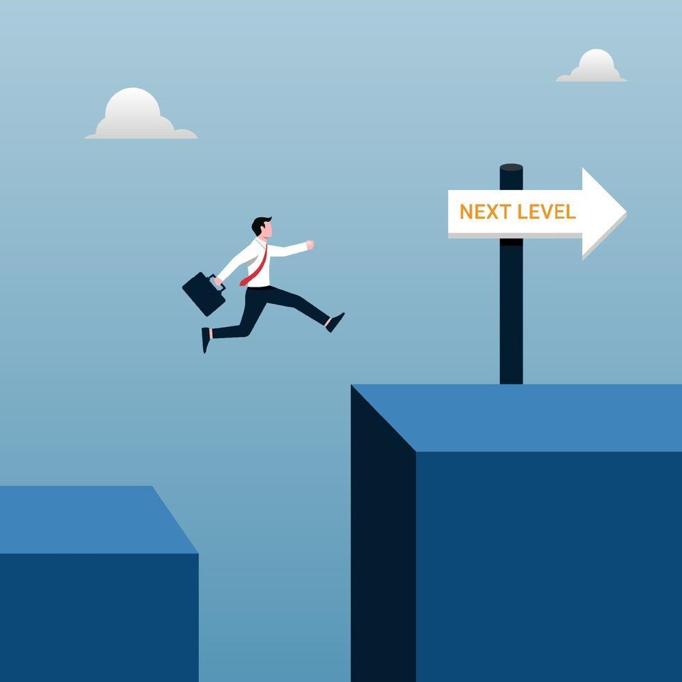 successo del livello successivo del concetto di business. uomo d & # 39; affari che salta per raggiungere l & # 39; illustrazione di obiettivo. vettore