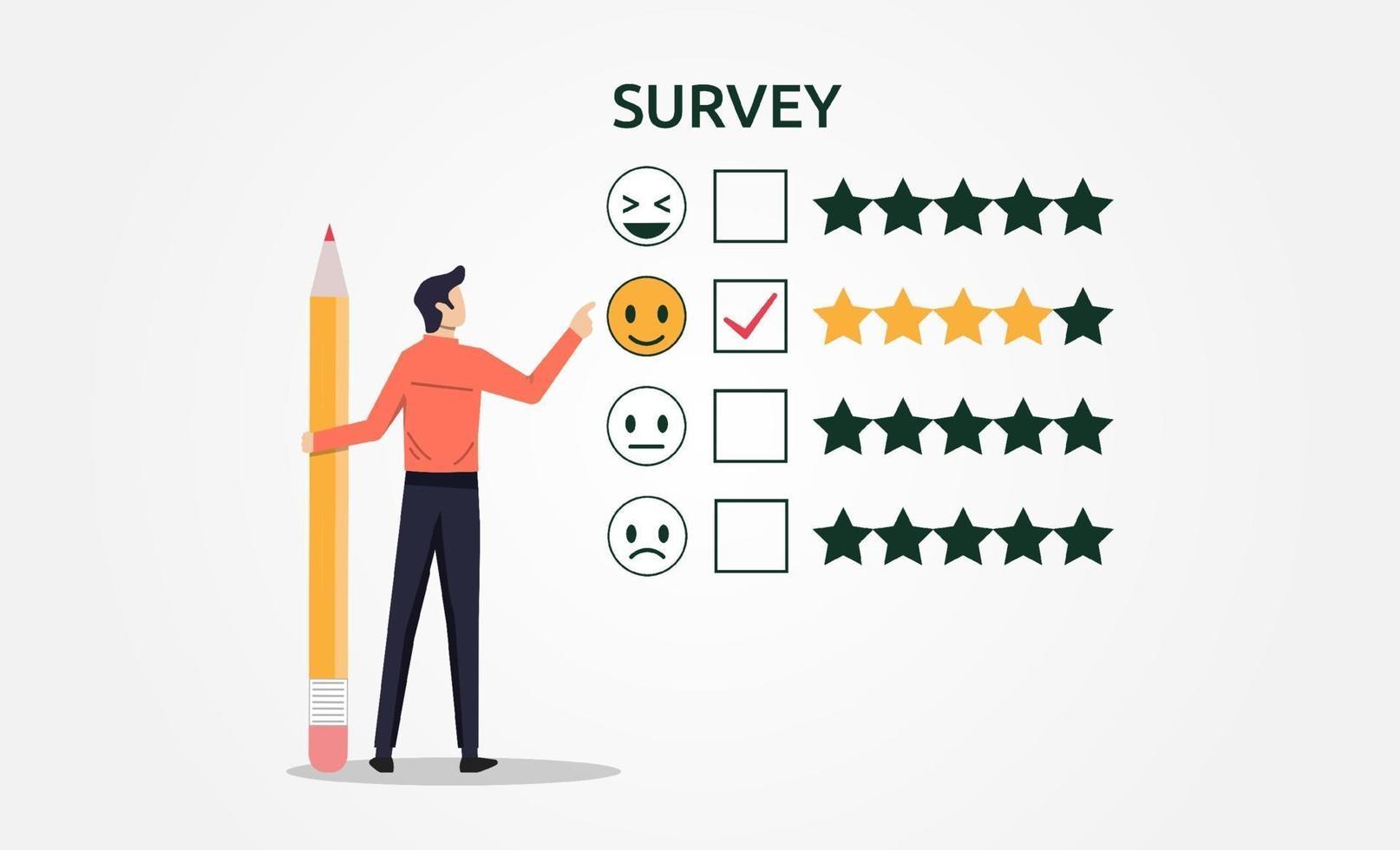 un uomo con la matita che riempie il concetto del modulo di indagine. feedback del sondaggio per l'illustrazione vettoriale di soddisfazione del cliente