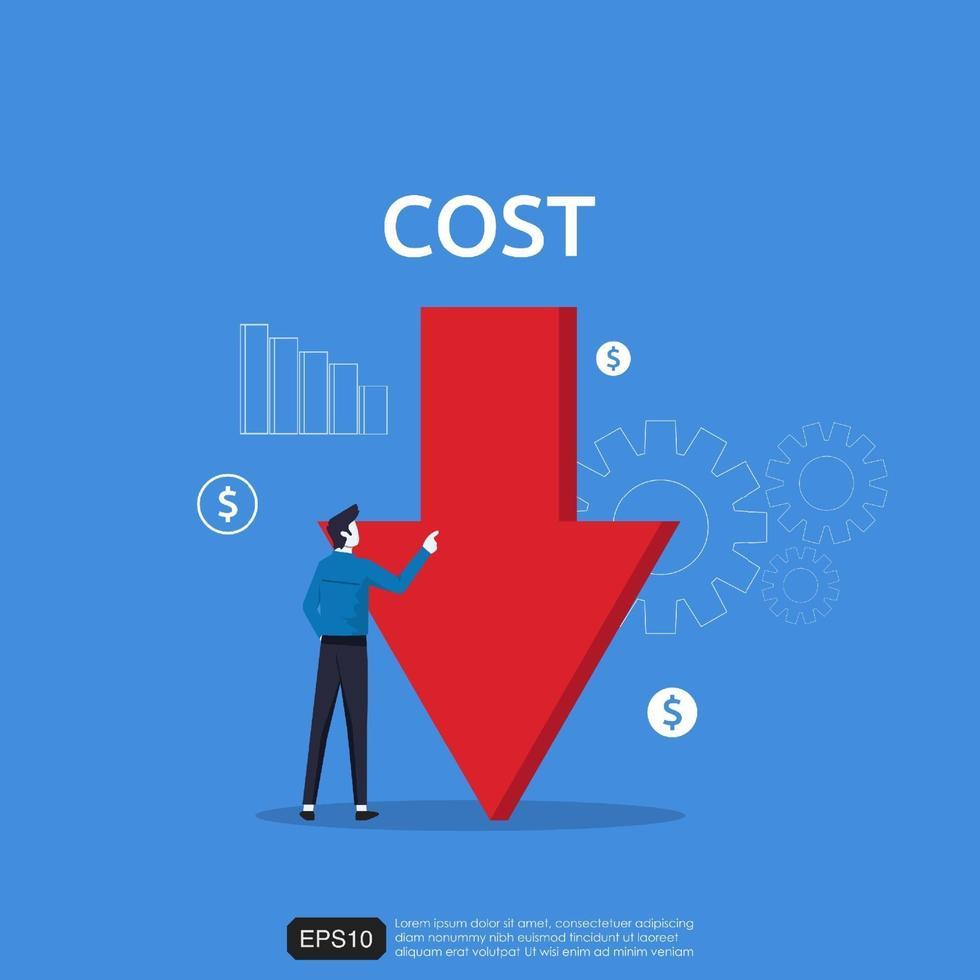 concetto di riduzione dei costi con carattere uomo d'affari e illustrazione vettoriale simbolo freccia giù.