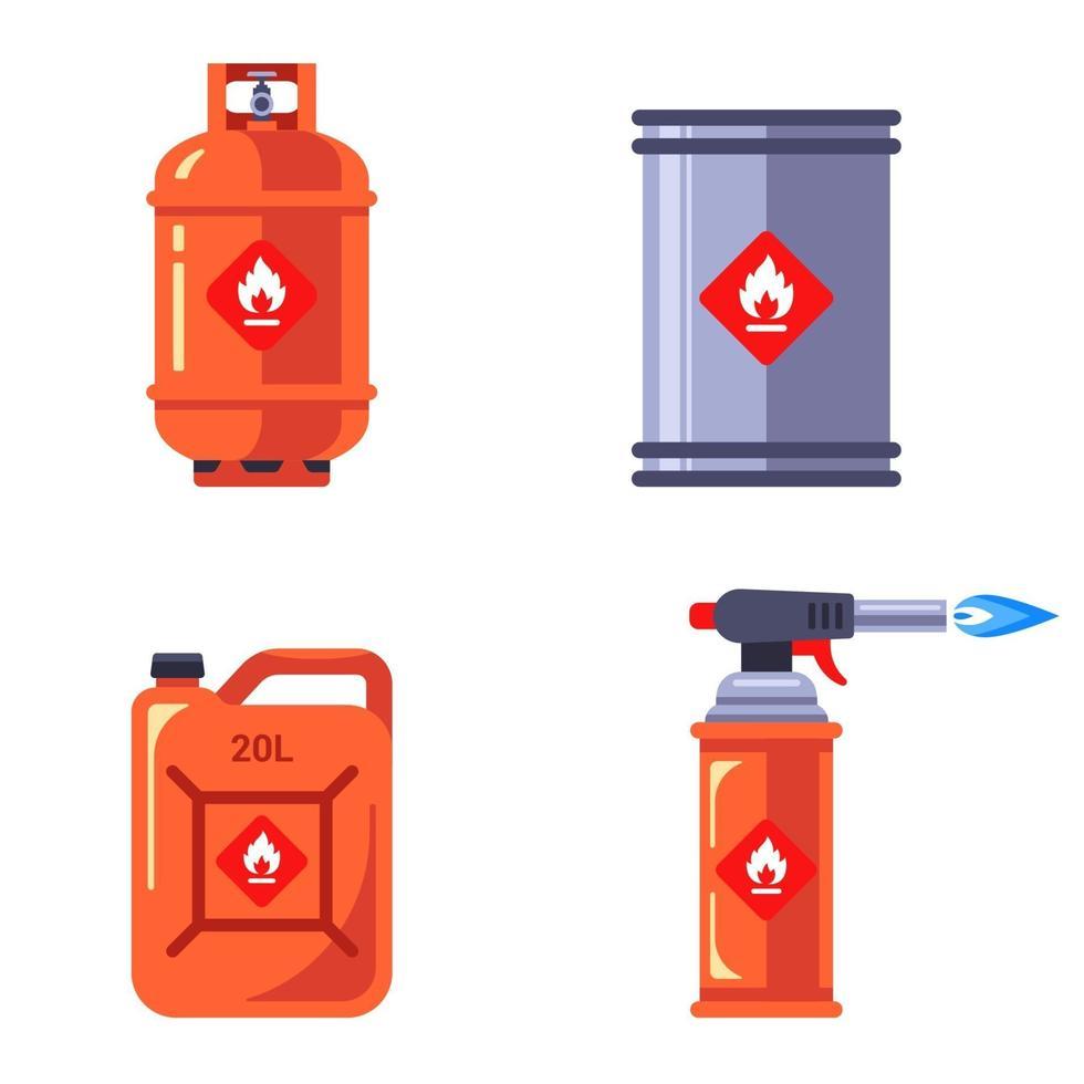 set di contenitori con sostanze infiammabili. stoccaggio di liquidi pericolosi in contenitori. illustrazione vettoriale piatto isolato su sfondo bianco.