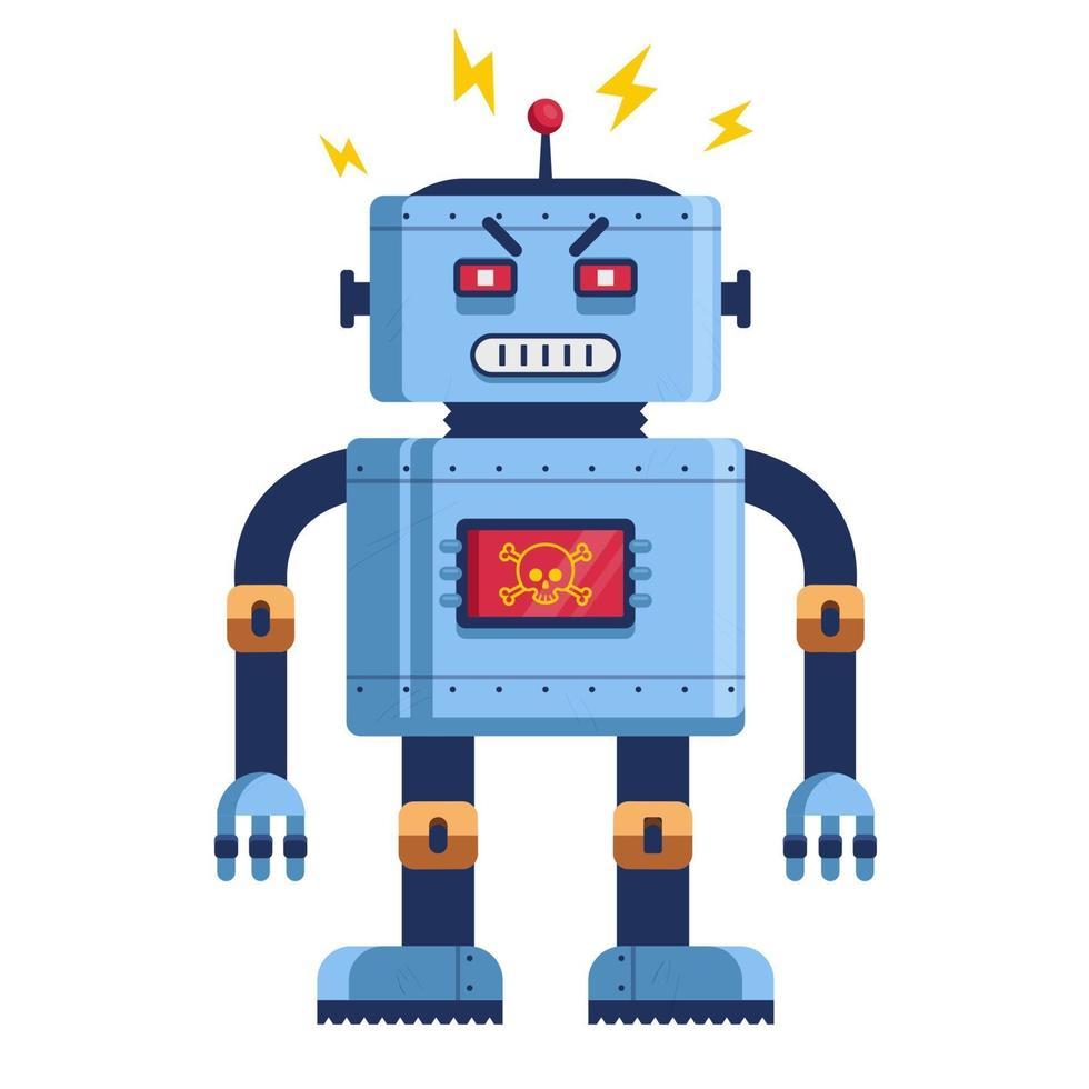 robot malvagio in piena crescita. umanoide futuristico. assassino cyborg. illustrazione vettoriale piatta