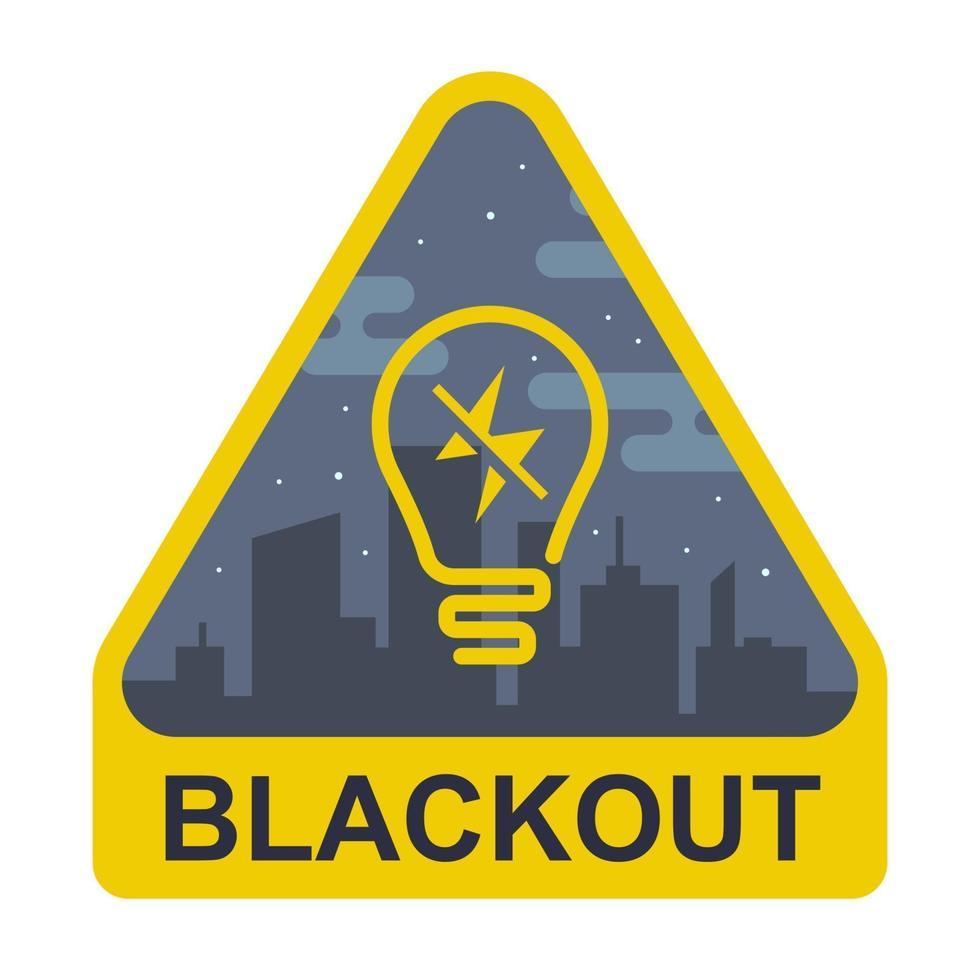segno di blackout. triangolo giallo con una lampadina su uno sfondo di città. illustrazione vettoriale piatta.