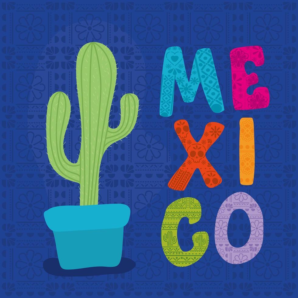 cactus e messico lettering disegno vettoriale