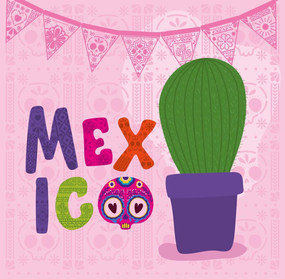 cactus e teschio con disegno vettoriale lettering messico