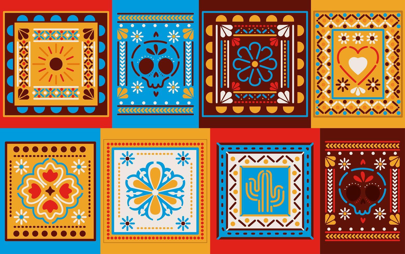 piastrelle colorate messicane vettore
