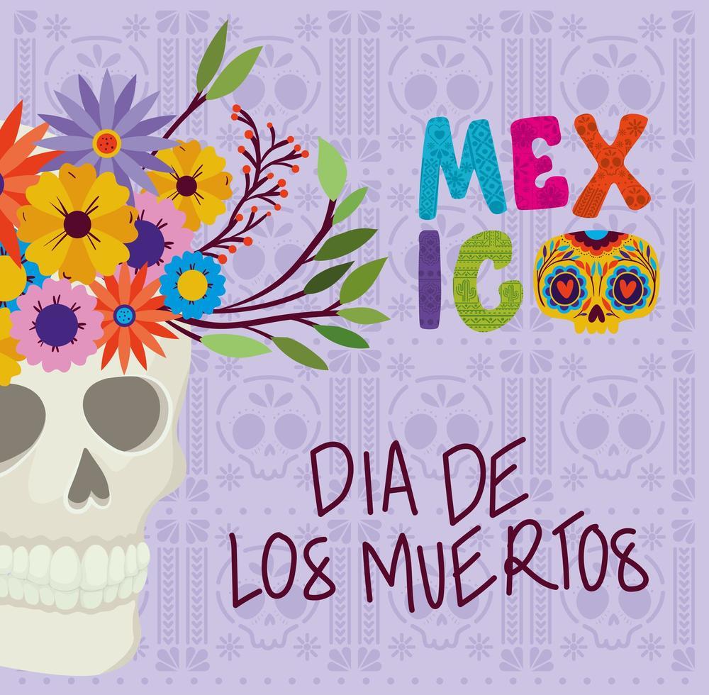 teschio con fiori per la celebrazione del dia de los muertos vettore