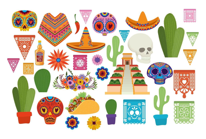 set di icone messicane vettore